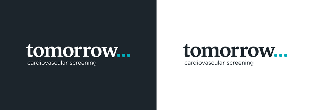 Tomorrow Cardiovascular Screening logo variants – design by Ian Whalley