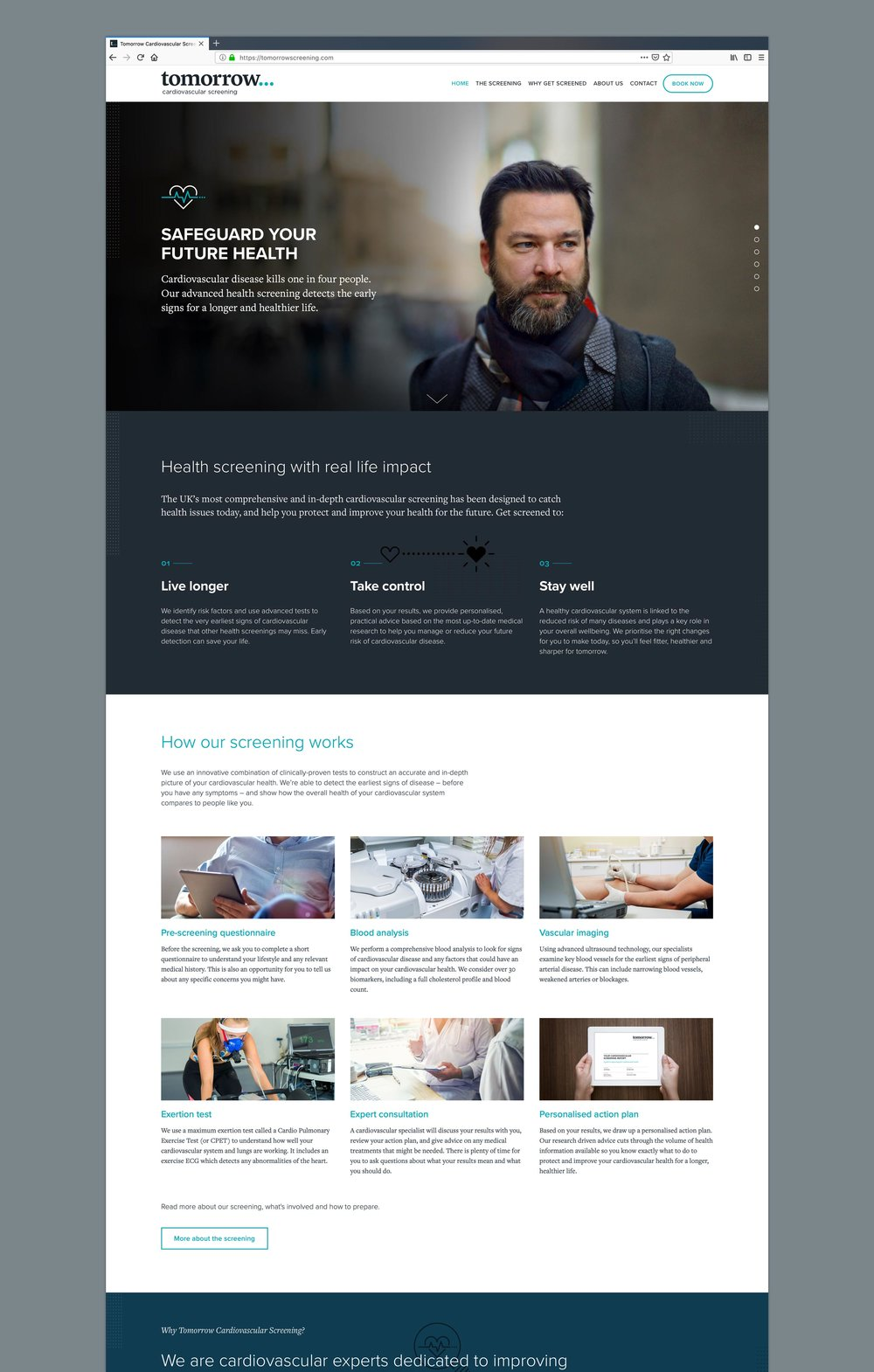 Tomorrow website home page – design by Ian whalley