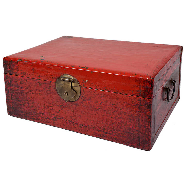 19th Century Chinese Red Lacquer Leather Trunk With Brass Hardware; DH 0134