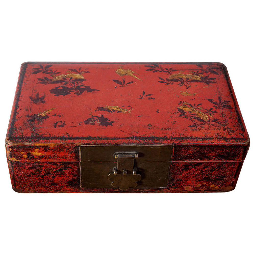 Chinese Ming Dynasty Scholaru0027s Red Lacquer Leather Document Box; DH 0148