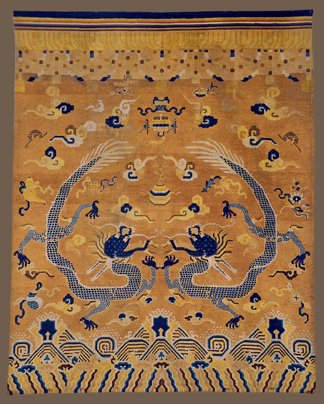 A Ningxia Banner Carpet, North, China 19th Century, Estimate $ 10,000-$15,000. Price realised: $ 81,250. Image: ©Christie's Inc.