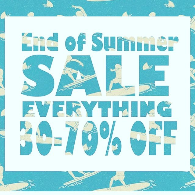 STARTING TODAY!!! 50% off all of the clothing, sandals, boardshorts and bikinis. 30% off on wetsuits. Plus a bunch of clothing 70% off.