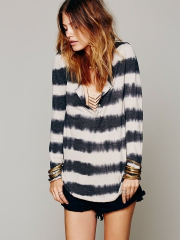 Free People Radical Black and White Striped Tunic