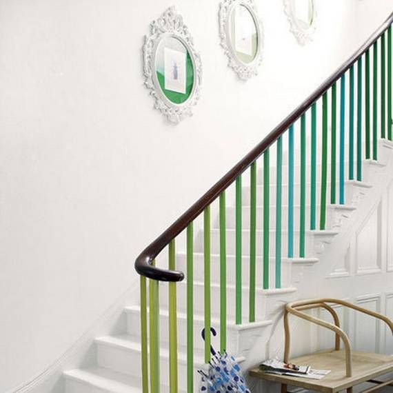 Count it!  This ombre banister is making me green with envy!