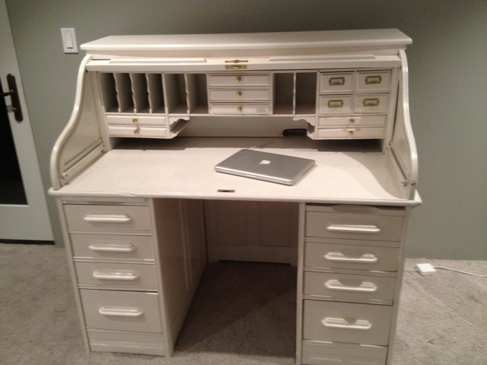 White Lacquer Roll Top Desk.JPG