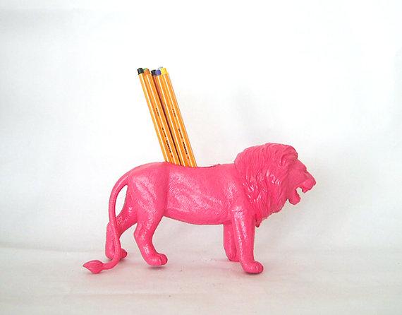 Lion Pencil Holder Pink Toy Animal.jpg