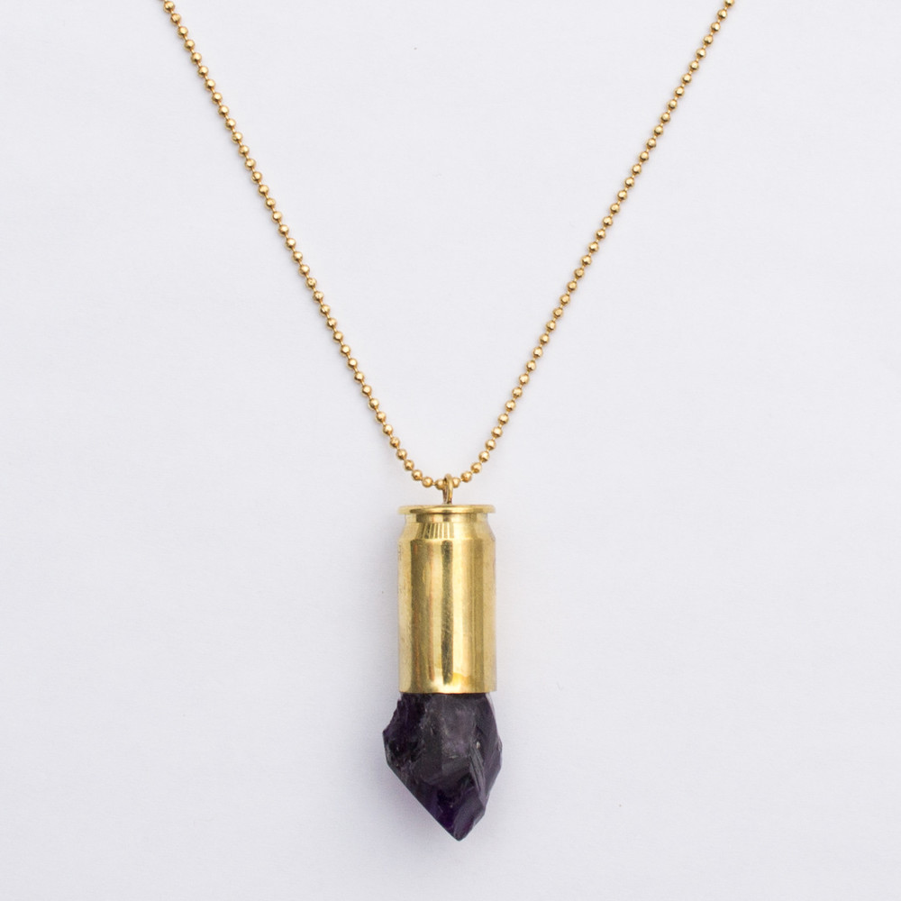Shield and Honor Bullet Necklace Amethyst