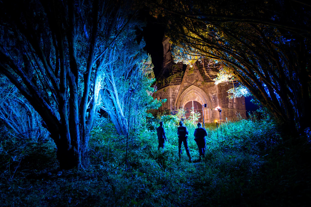 Behind the scenes of the lighting setup for Headfort Mausoleum hidden in thick forest. Is it bad that one of my favourite images of the project isn't even in the exhibition?