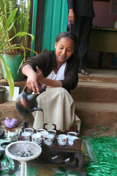 The coffee ceremony is one example of Ethiopian hospitality
