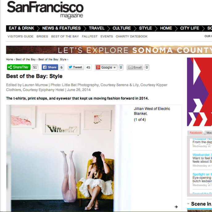 San Francisco Magazine - Best of the Bay 2014  *Print ed. July 2014*