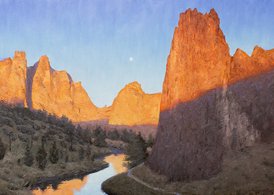 """Crooked River, 10"""" x 14"""", Oil on paper"""
