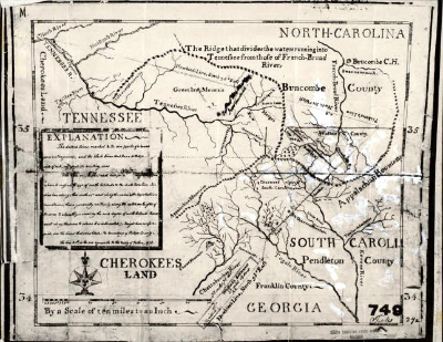 Early map outlining Buncombe County