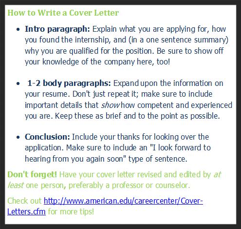 interning cover letter