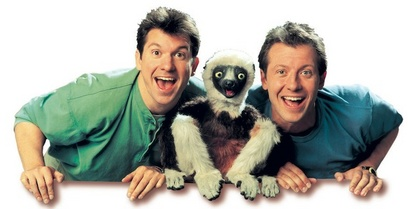 Martin and Chris Kratt with beloved child icon Zaboomafoo