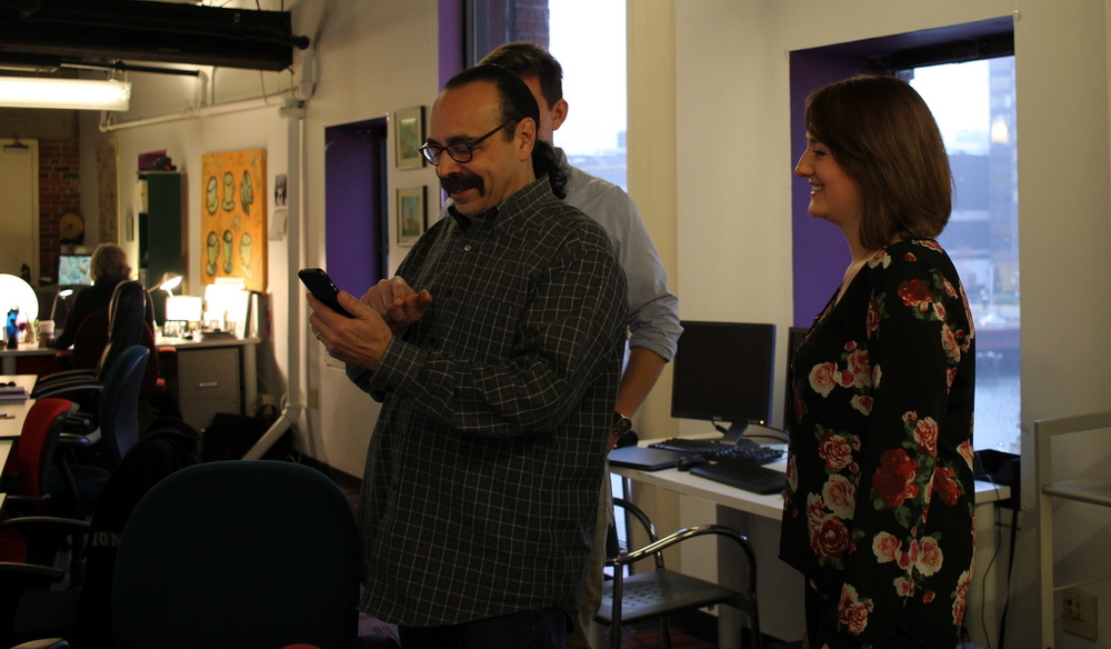 Bill Gonzalez shows off two of his favorite photo apps at FableVision earlier this week.