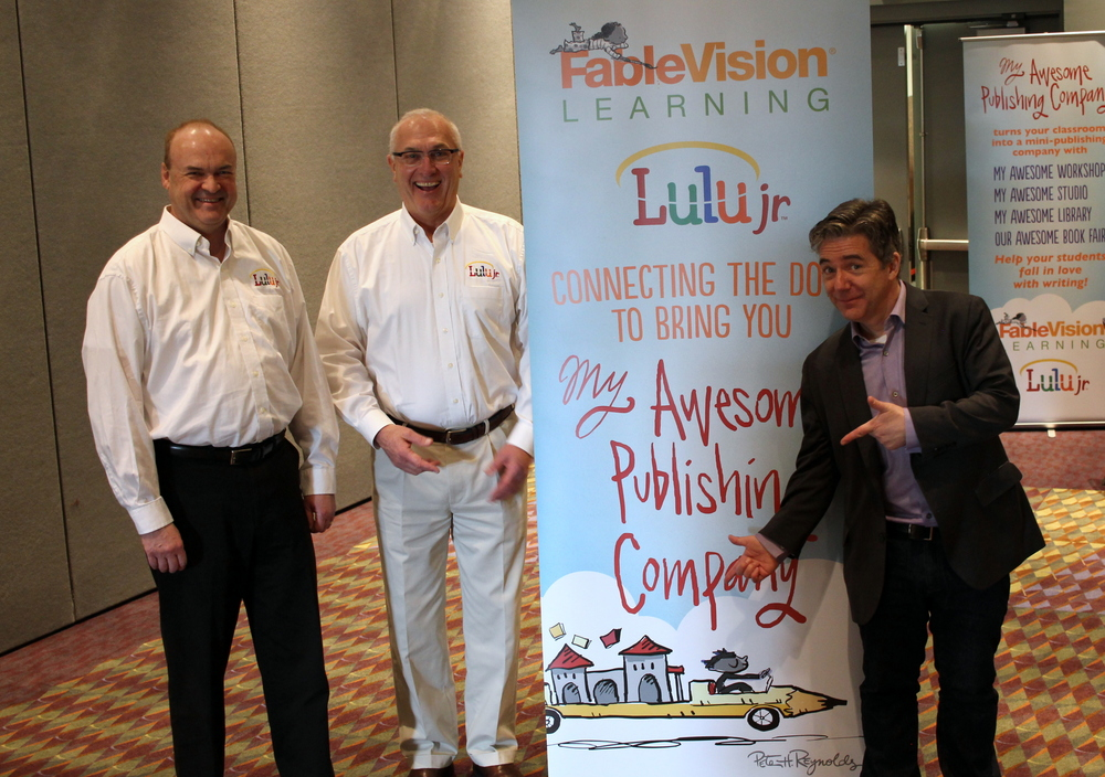 FableVision Learning and Lulu Jr. announced their partnership to develop My Awesome Publishing Company! at FETC on Jan. 20-23 in Orlando, Florida. Pictured from left, Geoff Wood, Senior Vice President, Sales and Marketing at Lulu.com, Will Jahnke, and Paul Reynolds, CEO of FableVision.