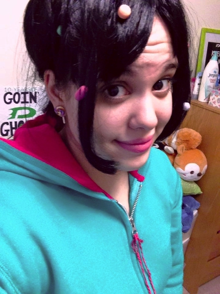 My friend cosplaying as Vanellope Von Schweetz