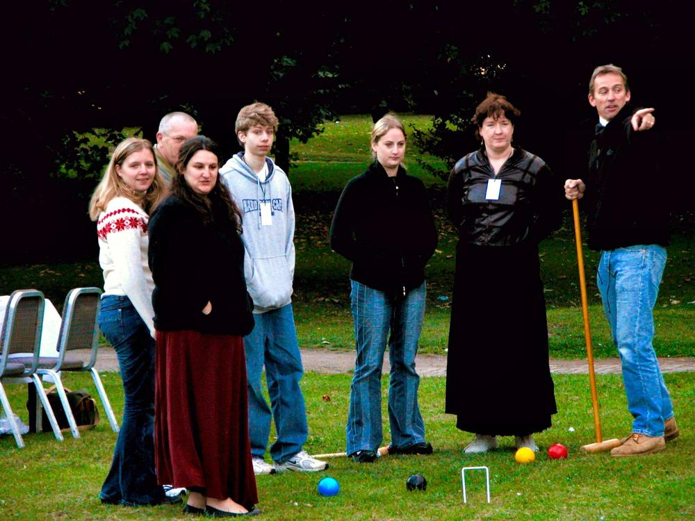 Playing croquet at the first Ffiesta.
