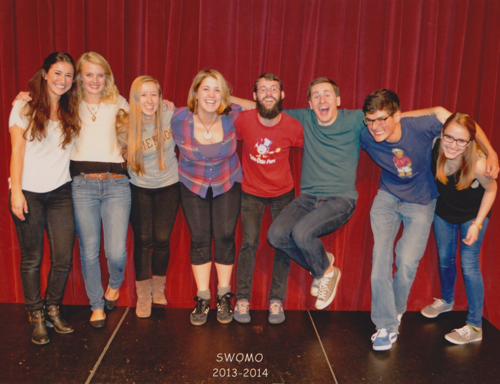 Isabella, far right, hangs out with her improv troupe SwoMo.