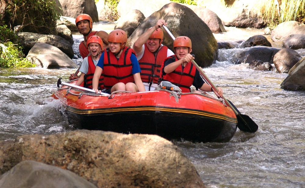 Michael white-water rafting in Bali with his family.