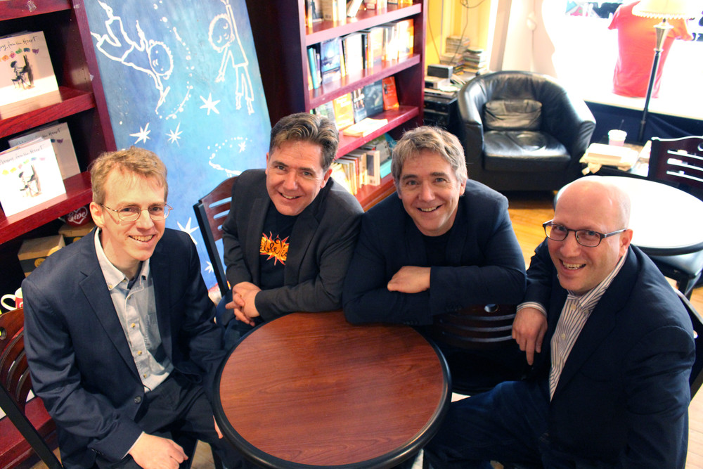The original FableVision founders at The Blue Bunny Bookstore in Dedham, MA. From left: John Lechner, Paul Reynolds, Peter Reynolds, and Gary Goldberger.