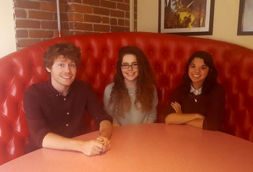 FableVision Studios' Fall 2016 interns. From left: Adam Reed, Jen Sanchez, and Tessa Berliner.