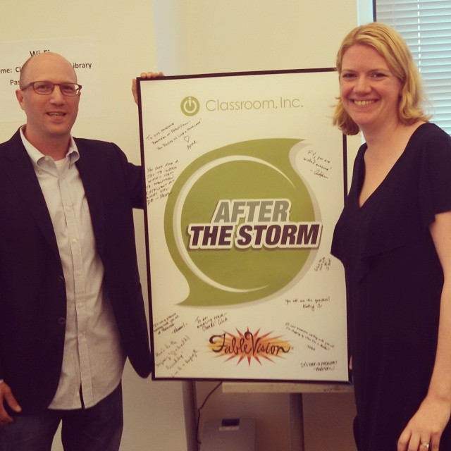 FableVision's Gary Goldberger and Classroom, Inc.'s Anne Richards at the After the Storm launch party in New York City.