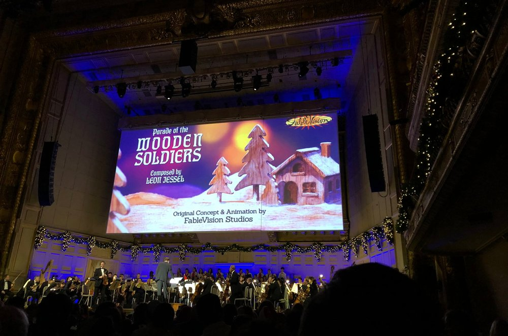 "FableVision's animated accompaniment to Leon Jessel's ""Parade of the Wooden Soldiers"" on the big screen at the Holiday Pops"
