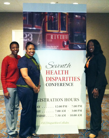 Nannozi Ssenkoloto, LBCHP Program Manager; Anesha Prier, Patient Navigator; and Dana Feist, Patient Care Coordinator at the Xavier University Health Disparities Conference, March 2014