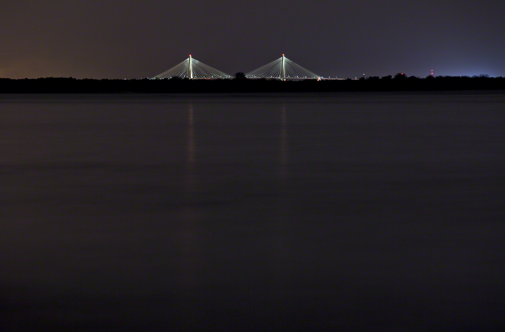 the ravenel bridge from the north end of folly island