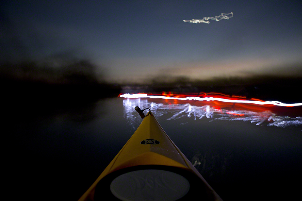 anthony's fancy pants kayak lighting system in use
