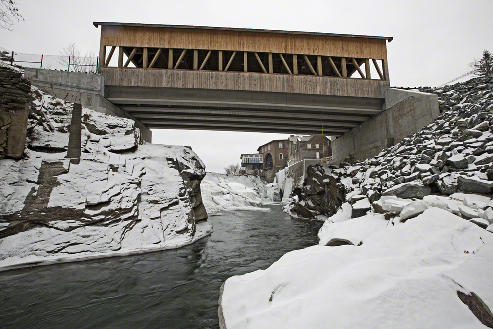 the new re-enforced quechee covered bridge, the old one was severely damaged by flood waters during tropical storm irene in 2011.