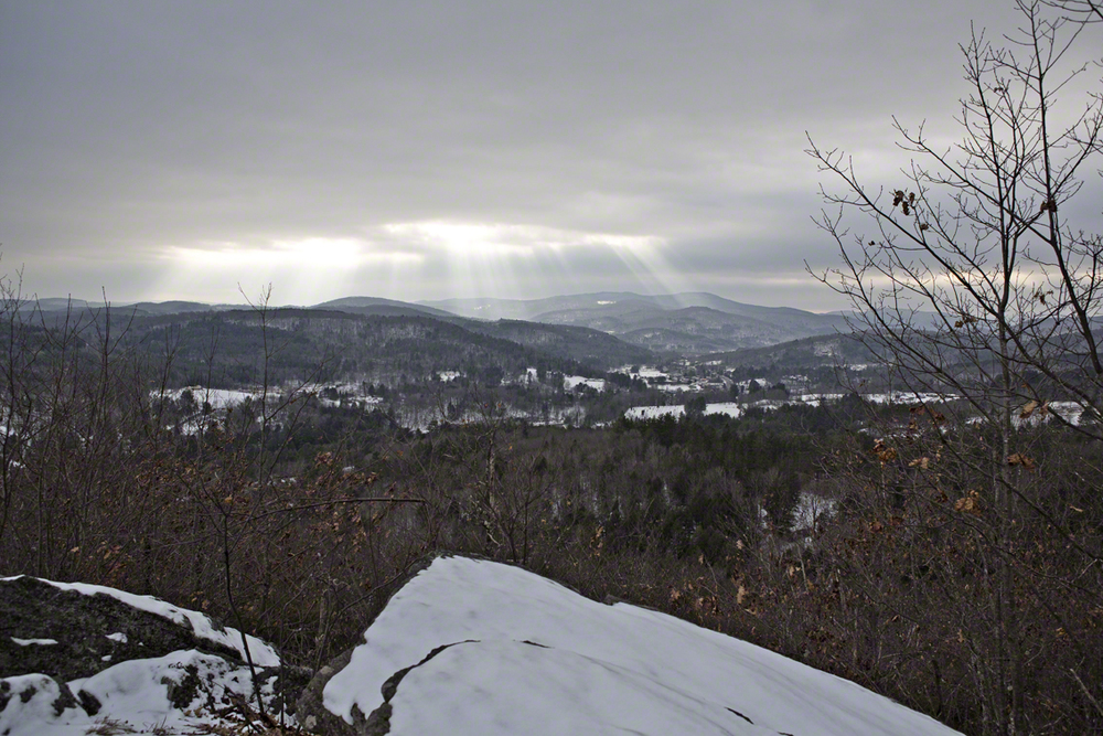 the little bit of sun we saw in vt - peeking through the clouds.  view from mt. tom
