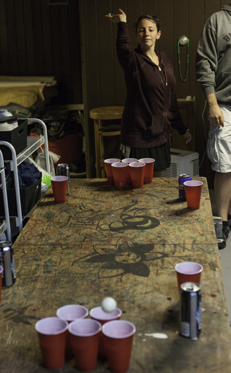 sara rod nailing it at beer pong, on the original thirsty thursday table from rit, circa 2002