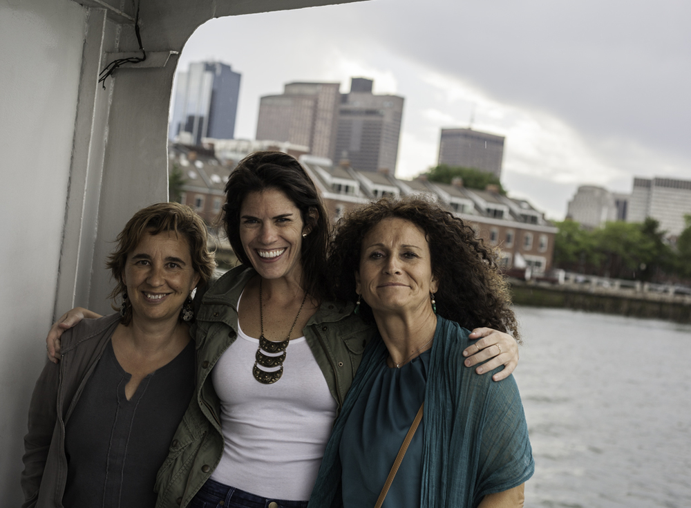 nuria, sloane and carmen on the boston water taxi