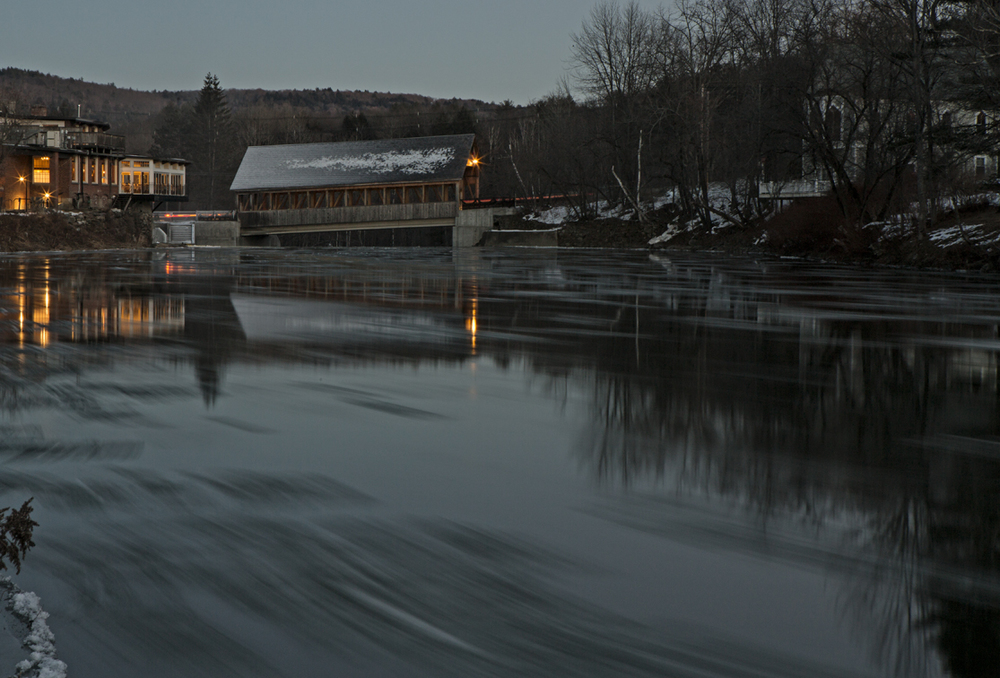 The covered bridge over the Ottauquechee river.