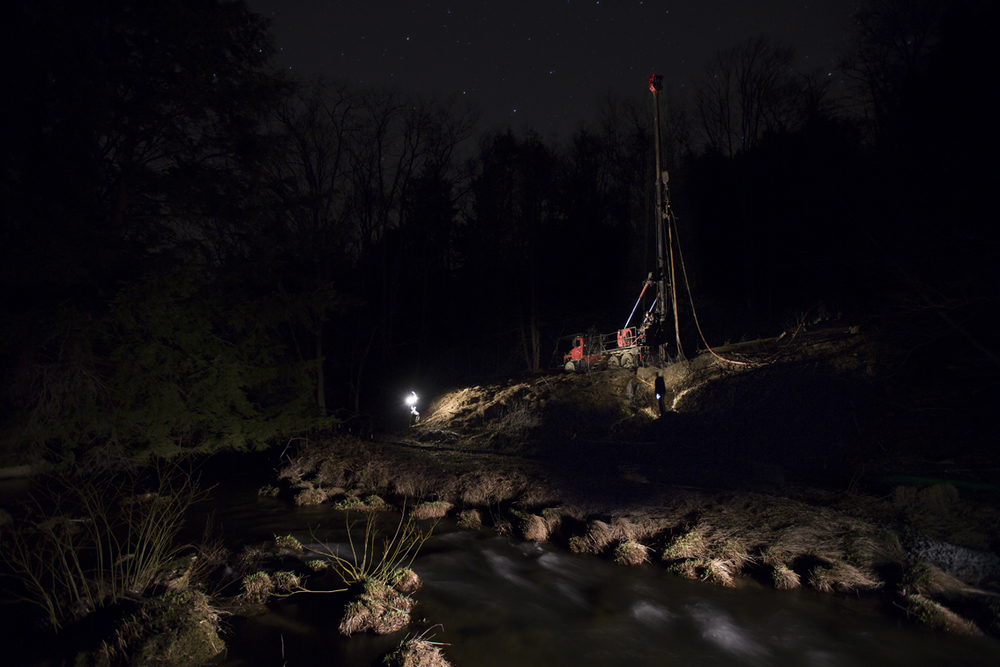 A portrait I made of a drill rig upstream from our campsite.  I suspect it was a fresh water well to provide water for the fracking that is occurring all over the hills in this area.
