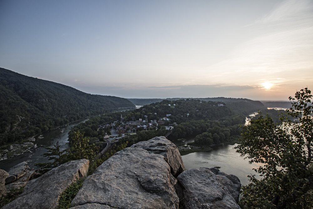 The Shenandoah (on the left) joins the Potomac.  The town of Harper's Ferry is right in the middle.