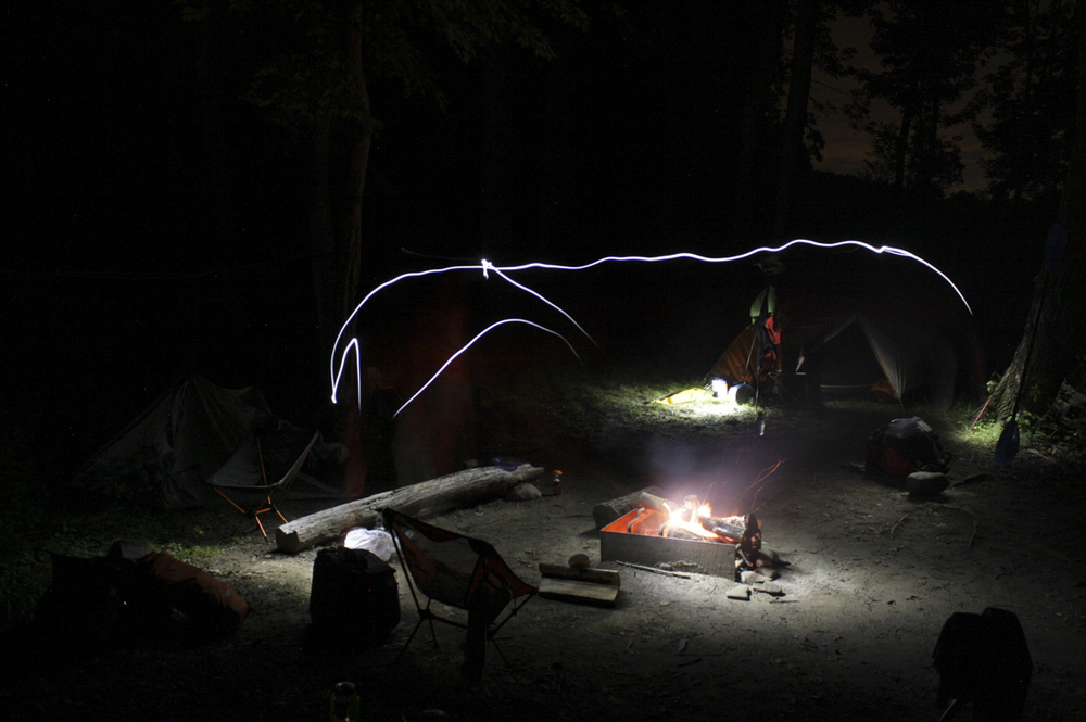 The campsite at night.