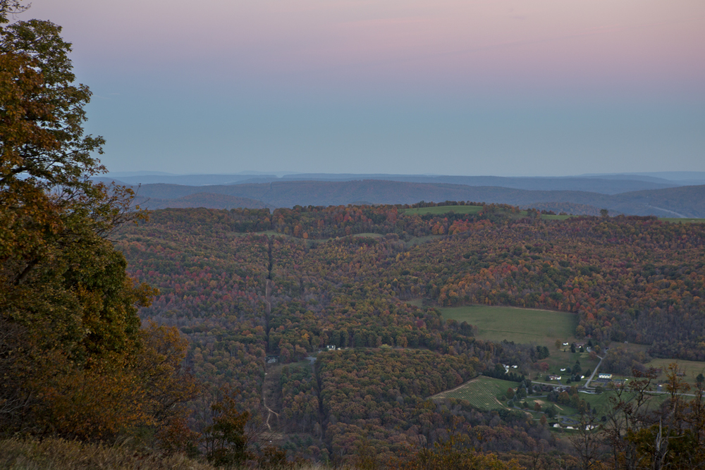 Fall colors in the valley below Evitt's mountain.