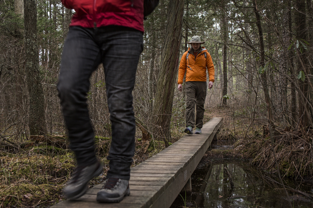 Loren and Frank crossing one of the many boardwalks on the Batona Trail.