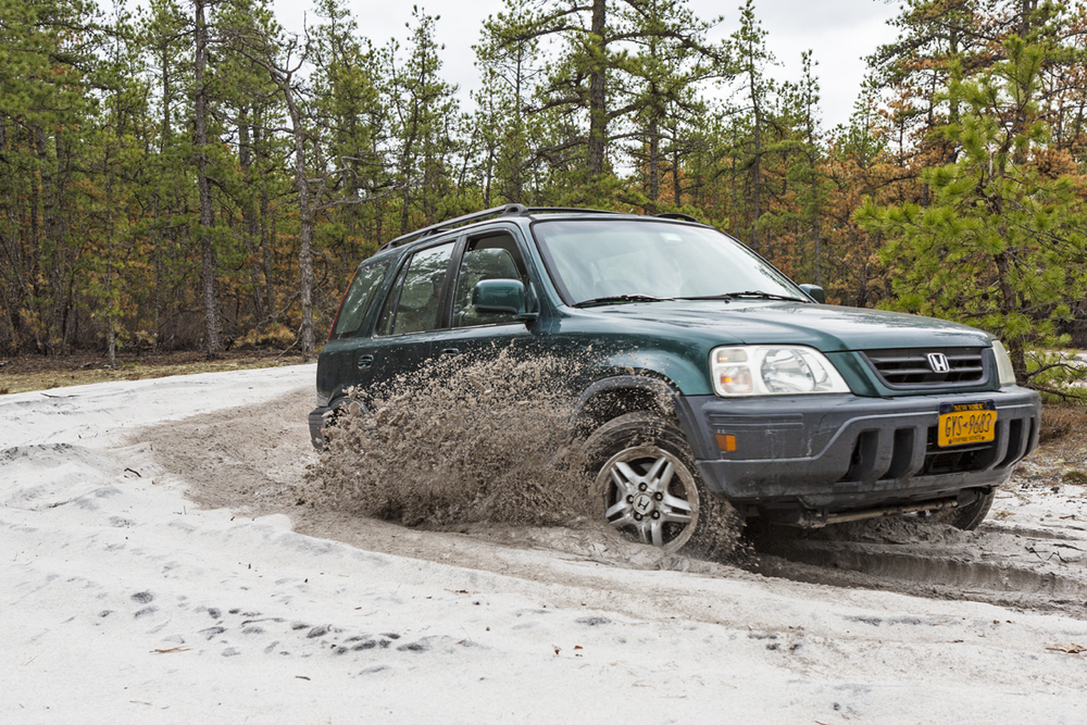 The CRV tearing up the sugar sand while driving in circles.