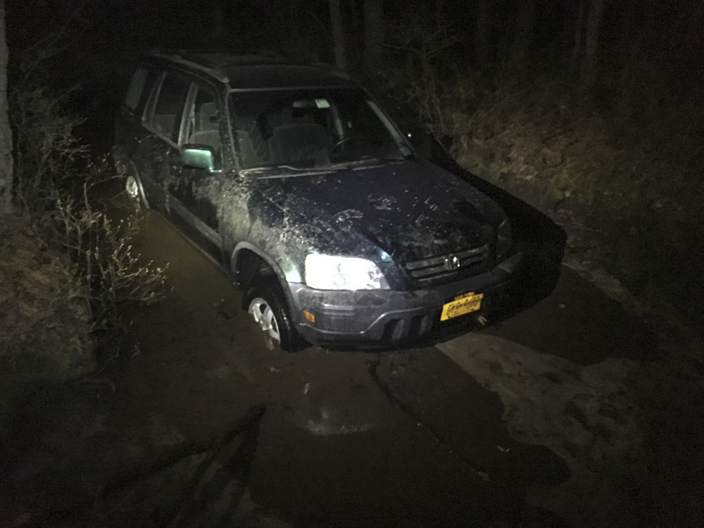 Stuck in the mud.  Where we left Loren's car for the night..