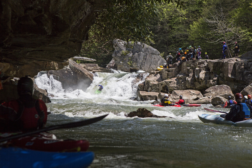 Random hero running Big Splat Rapid, a class V on the Lower Big Sandy river in WV.