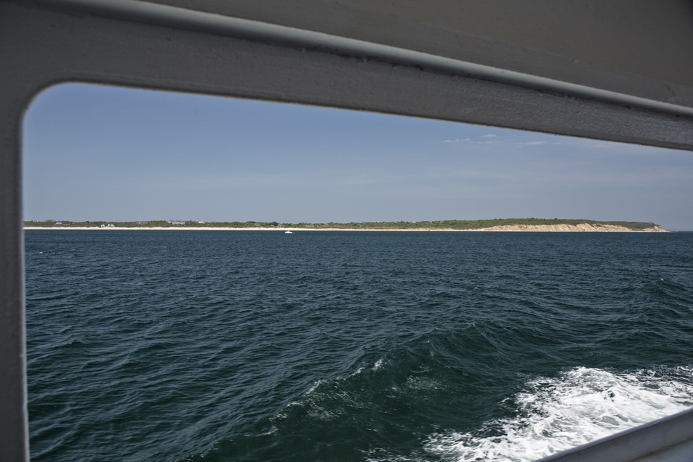 The point of Block island as seen from the rear of the ferry.