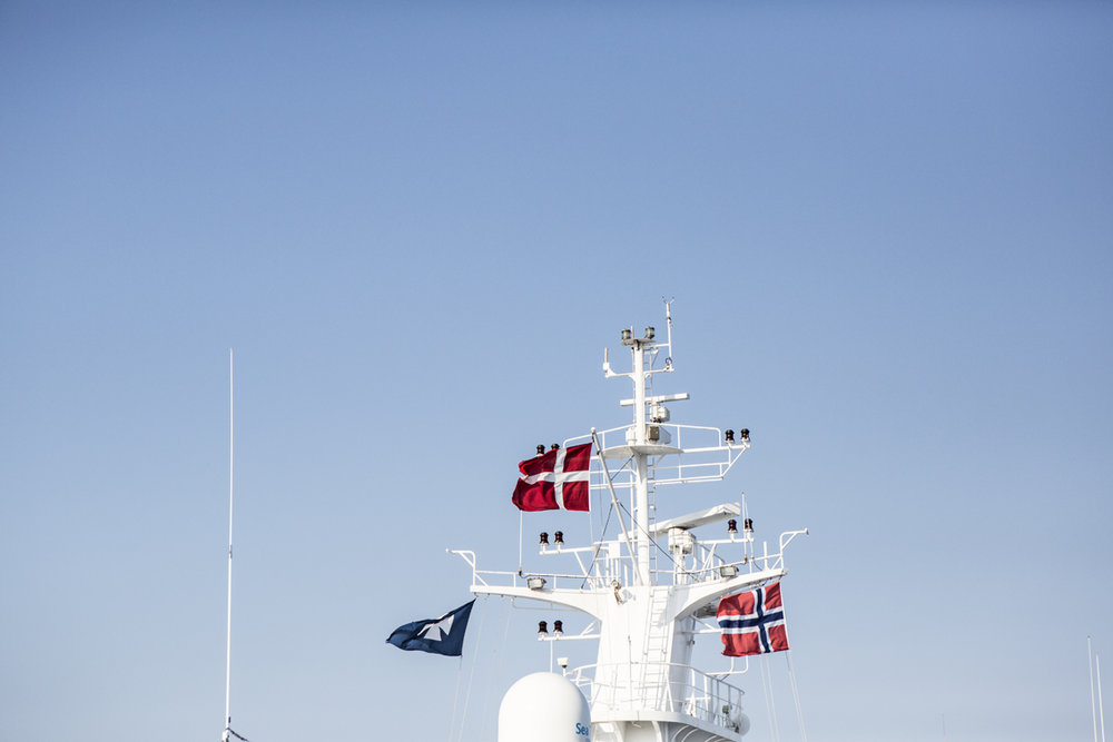 The Danish and Norwegian flag, along with the DFDS seaways flag
