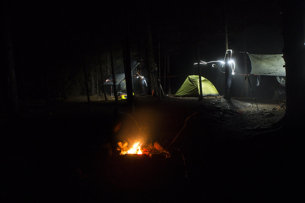 Our camp on night two, right before the rain set in for the night.  Frank's set up was too far away to be seen.