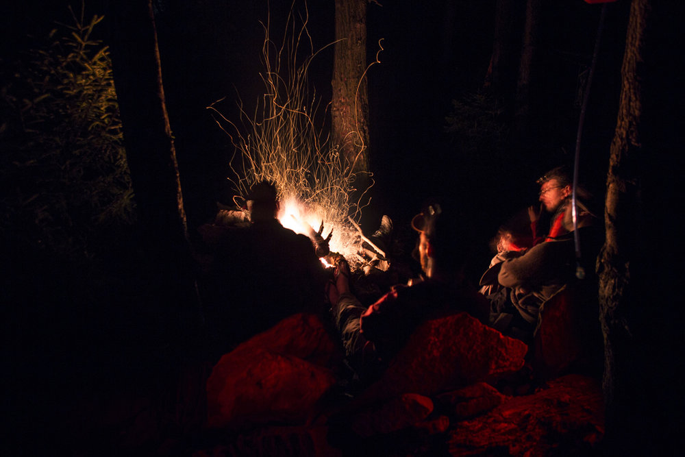 A roaring, wet birch fire to warm us up and dry out some wet socks and boots.