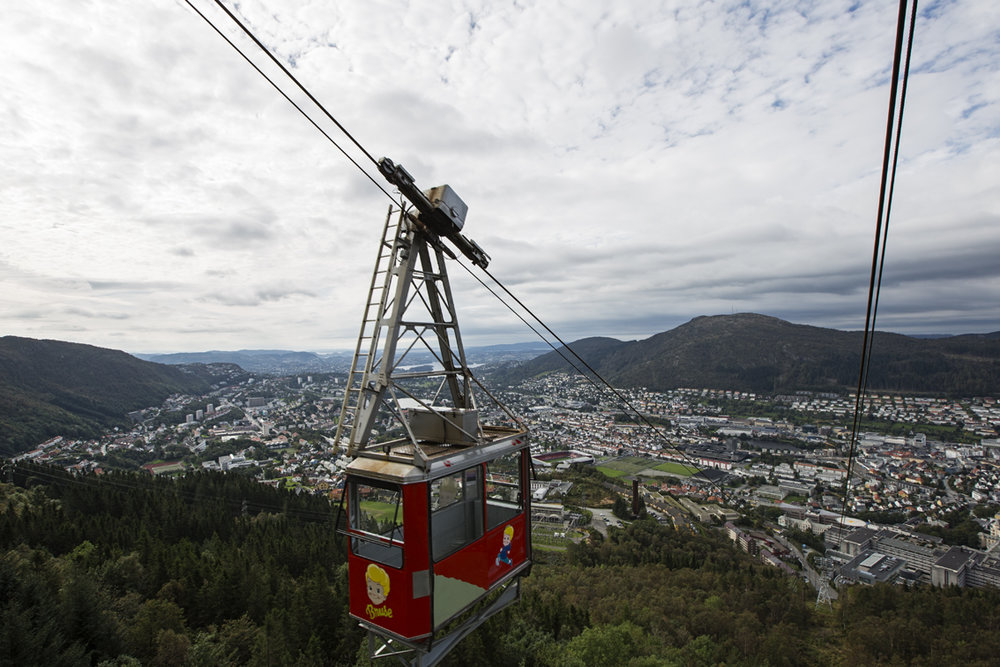 The Ulriken cable car - Bergen below.
