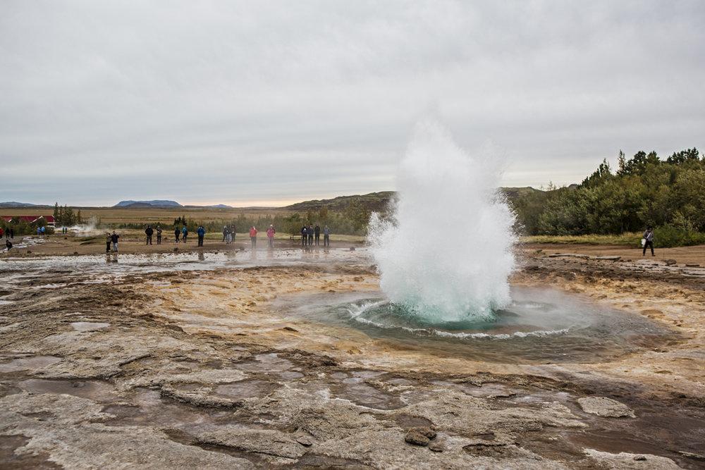 Geysir erupting.
